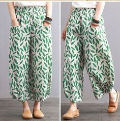Hi Fashion, Cute Fashion, Fashion Pants, Fashion Outfits, Cropped Linen Trousers, Yoga Dress, Crochet Top Outfit, Pants Pattern, Linen Dresses