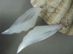 8 cm 925 Silber Ohrringe weiße Perlmutt Engels Flügel Ohrhänger Earrings
