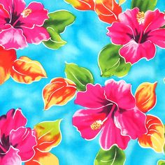 Tropical Hawaiian designs in soft apparel fabric. Let your imagination flow & sew to your heart's delights! Fabric by the yard. Width: Material: Rayon Poplin Please note: Since this item is cut to Blue Hawaiian, Hawaiian Flowers, Tropical Flowers, Tropical Outfit, Tropical Art, Hawaiian Designs, Tropical Pattern, Arte Floral, Illustrations