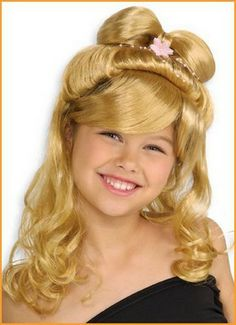"""Kids Elegant Princess Wig - curly wig with bangs and hair """"bow"""" on top with attached flower and string beads, available in blonde or black. Kids Wigs, Costume Craze, Flower Costume, Wigs With Bangs, Long Wigs, Costume Wigs, Curly Wigs, Elite Socks, Hair Bows"""