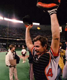 Rick Dempsey celebrates the Orioles 1983 World Series