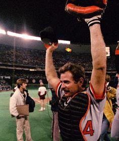 Rick Dempsey celebrates the Orioles 1983 World Series