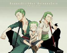Happy Birthday Zoro, Roronoa Zoro, different ages, young, childhood, time lapse, cute, text; One Piece