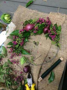 Broderie de fleurs naturelles