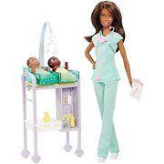 Barbie Medical Careers Pediatrician Baby Doctor African Doll & Playset