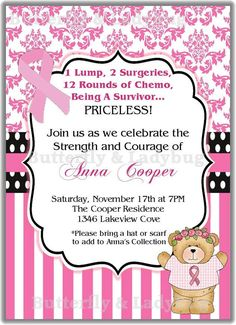 Breast Cancer Survivor Damask Personalized Printable Digital DIY Invitation or Post Card ( Any Wording or Text)