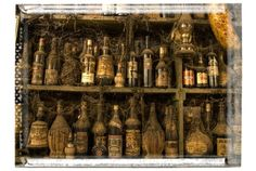 Pirate bar antique bottles vintage old bottles in greek taverna