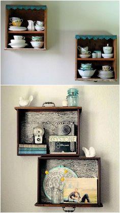 Vai jogar fora um armário caindo aos pedaços? Então retire as gavetas, pois com elas é possível criar coisas incríveis. Separamos abaixo algumas ideias cri