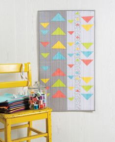 Stitch a quick column quilt with a modern twist using the Modern Floating Triangles Wall Hanging and Table Runner Pattern. No half-square triangles are needed to make this modern floating triangles quilt to hang on your wall or display on a table. Nancy Zieman, Triangle Quilt Pattern, Sewing With Nancy, Triangle Wall, Easy Quilts, Scrappy Quilts, Mini Quilts, Table Runner Pattern, Quilt Sizes