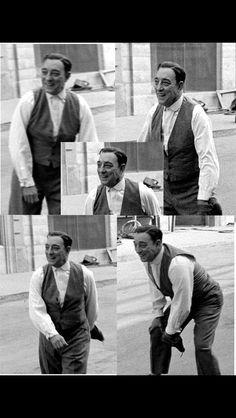 Buster Keaton playing catch on the set of The Silent Partner - 1955