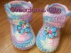 Cómo tejer botas para bebes o nenas con suela plástica / tutorial | Todo crochet