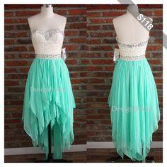 Unique Sweetheart Lace Violet Chiffon Prom Dresses, Short Front Back Long Purple Evening Dress,Mint Green Bridesmaid Dresses-Irregular Hems