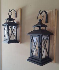 High Quality Set Of 2 MEDIUM Rustic Wall Mounted Lantern By PlushBrentwood