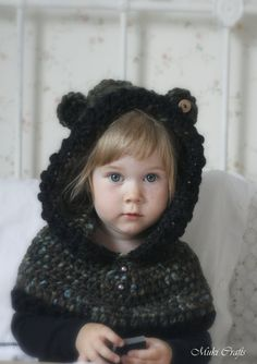 CROCHET PATTERN hooded cowl Phenix toddler/child/adult sizes