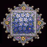 """Micro Mosaic Brooch Multi-Color Flower Pattern. 1"""" diameter."""