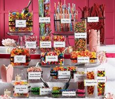 The candy buffet! I can not wait to make one of these! Also a great wedding favor, the guests get to make their own favor by filling their bag full of their favorite treats!!