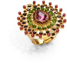 Sparkling Sage Crystal Peacock Ring in Multicolor (gold) - Lyst