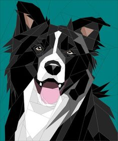 Quilt Art Designs - Paper Piecing Designer - Buy on Craftsy Dog Quilts, Cat Quilt, Animal Quilts, Barn Quilts, Quilt Art, Border Collie Art, Paper Pieced Quilt Patterns, Puppy Crafts, Polygon Art
