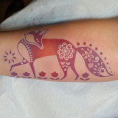 Hungarian folk art fox on my dear friend Charlee