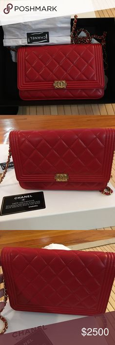 NWT. Chanel Boy WOC. Red. NEW. Chanel Boy WOC. Red Lambskin. Beautiful piece purchased from flagship store on Rue Cambon in Paris. Comes with box, dust bag, authenticity card, receipt and packaging (tissue paper, ribbon). CHANEL Bags