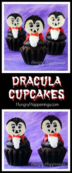 Top a chocolate cupcake with a big swirl of chocolate frosting and a white Reese's Cup vampire. These Dracula Cupcakes are frighteningly cute for Halloween. Halloween Desserts, Halloween Chocolate, Halloween Goodies, Halloween Cupcakes, Halloween Food For Party, Holidays Halloween, Spooky Halloween, Halloween Treats, Vintage Halloween