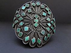 Outstanding Old Pawn Vintage NAVAJO  Sterling Turquoise Cluster Cuff Bracelet