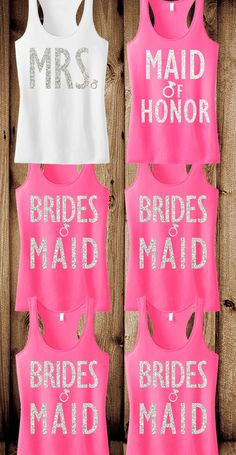 "#Bachelorette Party tank tops! Cute glitter print tanks for the #Bride, #Bridesmaids and Maid of Honor. Pick ""8"" for only $169.95, Free MRS. tote bag included! Click here to buy http://nobullwoman-apparel.com/collections/bridal-shirt-packages/products/bridal-wedding-8-tank-tops-15-off-bundle"
