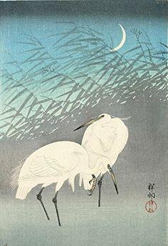 "Japanese Art Print ""Herons in Reeds (Ashi ni Sagi)"" by Ohara Koson. Shin Hanga and Art Reproductions http://www.amazon.com/dp/B016Z9OCCQ/ref=cm_sw_r_pi_dp_.bctwb0H67K6G"