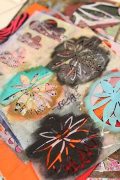 These are behind the scenes photographs from the video shoot for Layering with Stencils: Creating depth and texture in mixed-media art with Julie Fei-Fan Balzer.