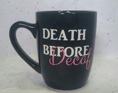 Tasses à café drôles, mort avant la tasse à café décaféiné, Rigolos, idées cadeaux, tasse à café