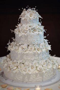 Winter floral wedding cake with handmade gum paste flowers.