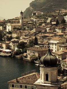 Lombardy, Lake District, Lake Garda, Limone Sul Garda, Town View with San Benedetto Church, Italy Photographic Print