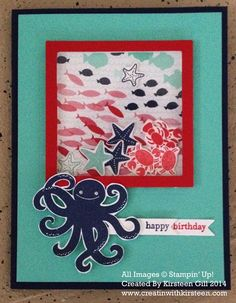 Great idea for a little boy card. Shaker Card - using the new Stampin' Up! Sea Street stamp set and Maritime Designer Paper, square framelits, window sheets and Stampin' Dimensionals to create the shaker window. Homemade Birthday Cards, Kids Birthday Cards, Homemade Cards, Happy Birthday, Fancy Fold Cards, Folded Cards, Spinner Card, Nautical Cards, Stampin Up Catalog