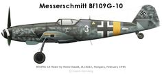 Bf109G-10 of Heinz Ewald This WNF-built Bf109G-10 was flown by Heinz Ewald of II./JG52 in February 1945.The landinggear doors had been removed to prevent snow and mud from getting caught up between the doors and the leg.