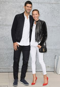 Couples who dress together. Novak Djokovic, 29 and his wife Jelena co-ordinated in sleek black and white outfits as they attended the Armani show at Milan Fashion Week Jelena Djokovic, Beauty And Fashion, Tennis Stars, Serena Williams, White Shirts, White Outfits, Giorgio Armani, Catwalk, Celebrity Style
