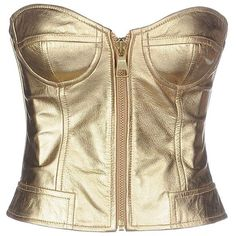 Moschino Cheapandchic Tube Top (2.692.660 IDR) ❤ liked on Polyvore featuring tops, moschino, gold, brown sleeveless top, zipper top, brown tops, tube top and leather top