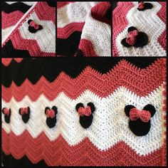 audra_hooknowl crochet minnie blanket (No pattern found - just a photo.  Simple Ripple Blanket with Minnie Mouse Heads with hair bow!)
