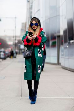 Avant garde coat in emerald with red accent on cuffs. Street style -MB barsjakeveci