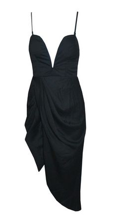 Black deep v neck dress