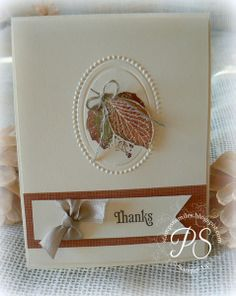 French Foliage plus Designer Frames embossing folders equals this beautiful card by Penny!