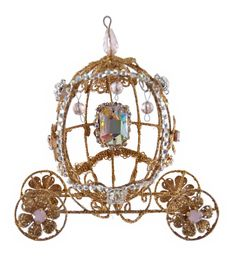 "Katherine's Collection Happily Ever After Christmas Collection Set Six 5"" Happily Jeweled Coach Ornaments Free Ship"