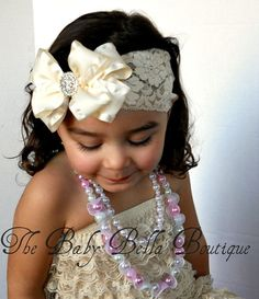 Baby Girl fancy  Cream Ivory double ruffle by TheBabyBellaBoutique, $15.90