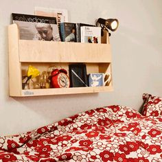 Find ideal Wooden Bunk Bed Shelves for bedside storage. The original Tidy Books bunk bed shelf designed for children, by a mum, holds books and drinks safely. Bunk Bed Shelf, Bunk Beds With Storage, Bed Shelves, Kids Storage, Childrens Bookcase, Kids Bookcase, Childrens Beds, Cabin Beds For Kids, Tidy Books