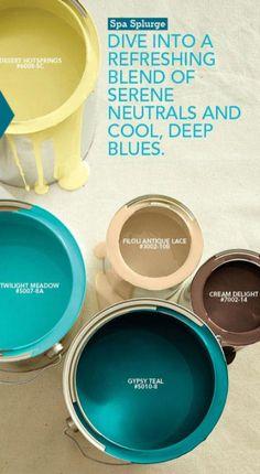 Color Palette - Spa Splurge, serene neutrals with cool deep blues. More Great Looks Like This Paint Schemes, Colour Schemes, Color Combos, Colour Palettes, Spa Colors, Teal Paint Colors, Party Colors, Pink Color, Serenity