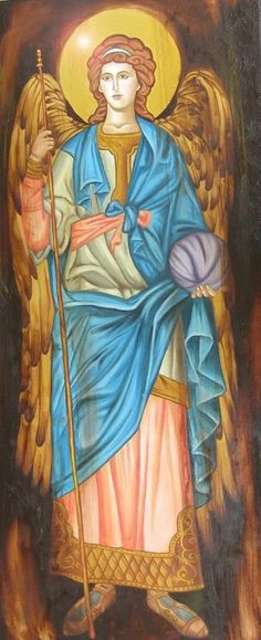 St. Gabriel, the Archangel and messenger of God; his name means God is mighty, God is my strength, Man of God, My Master is God, Strong Man of God, the Strength of God.