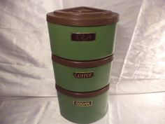 Mid Century ATOMIC METAL STACKING CANISTER SPACE AGE Retro GREEN VINTAGE 1969