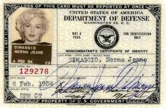 """Marilyn Monroe's Pentagon ID, issued to """"Norma Jeane DiMaggio""""—this week 1954, before she performed in front of US troops in South Korea:"""