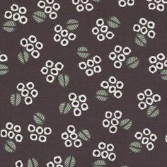Tissu feuilles gris foncé x 10cm