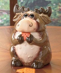 Moose Canister Cookie Jar Ceramic Collectible Large Lid Lodge Cabin Wildlife New