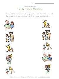family worksheets for several different skills